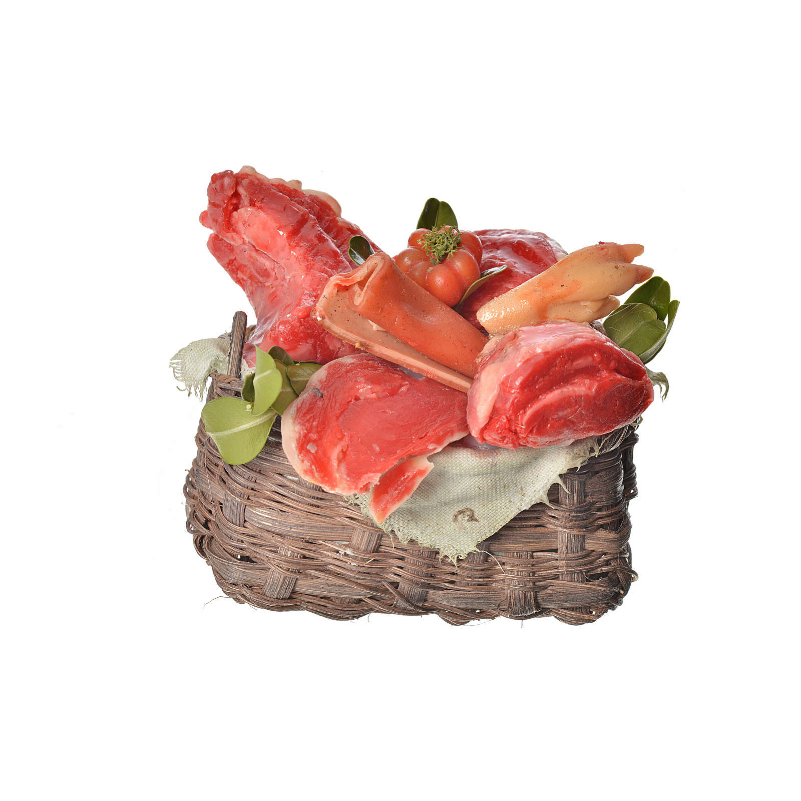Nativity accessory, meat basket in wax, 10x7x8cm 4