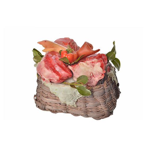 Nativity accessory, meat basket in wax, 10x7x8cm 3
