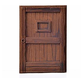 Nativity accessory, plaster door, dark wood colour,10x7cm s1