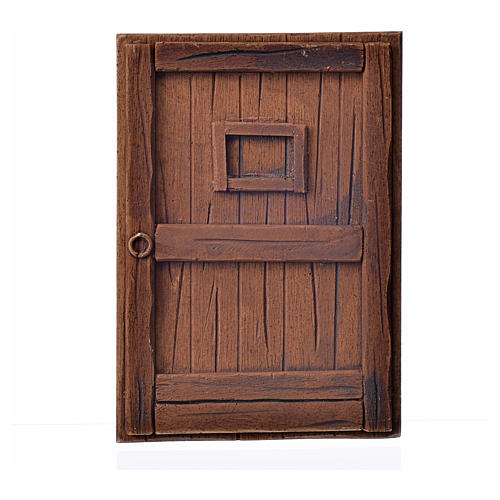 Nativity accessory, plaster door, dark wood colour,10x7cm 1