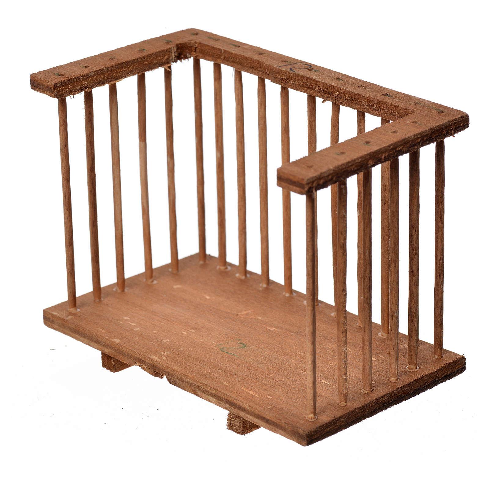 Nativity accessory, wooden square balcony, 6x8.5x5cm 4