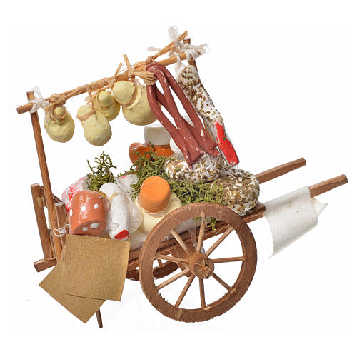 Neapolitan Nativity accessory, cheese cart in wood and terracott 1