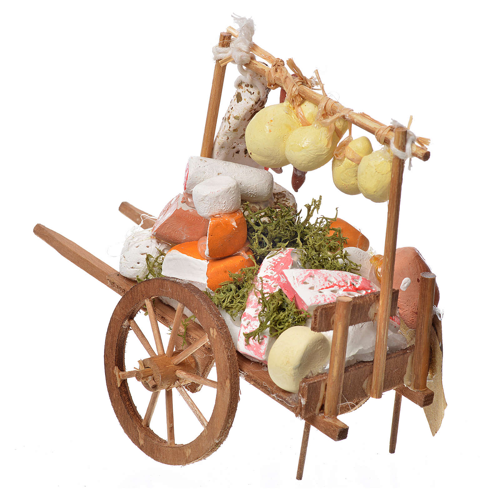Carreta belén en madera con quesos en terracota 4