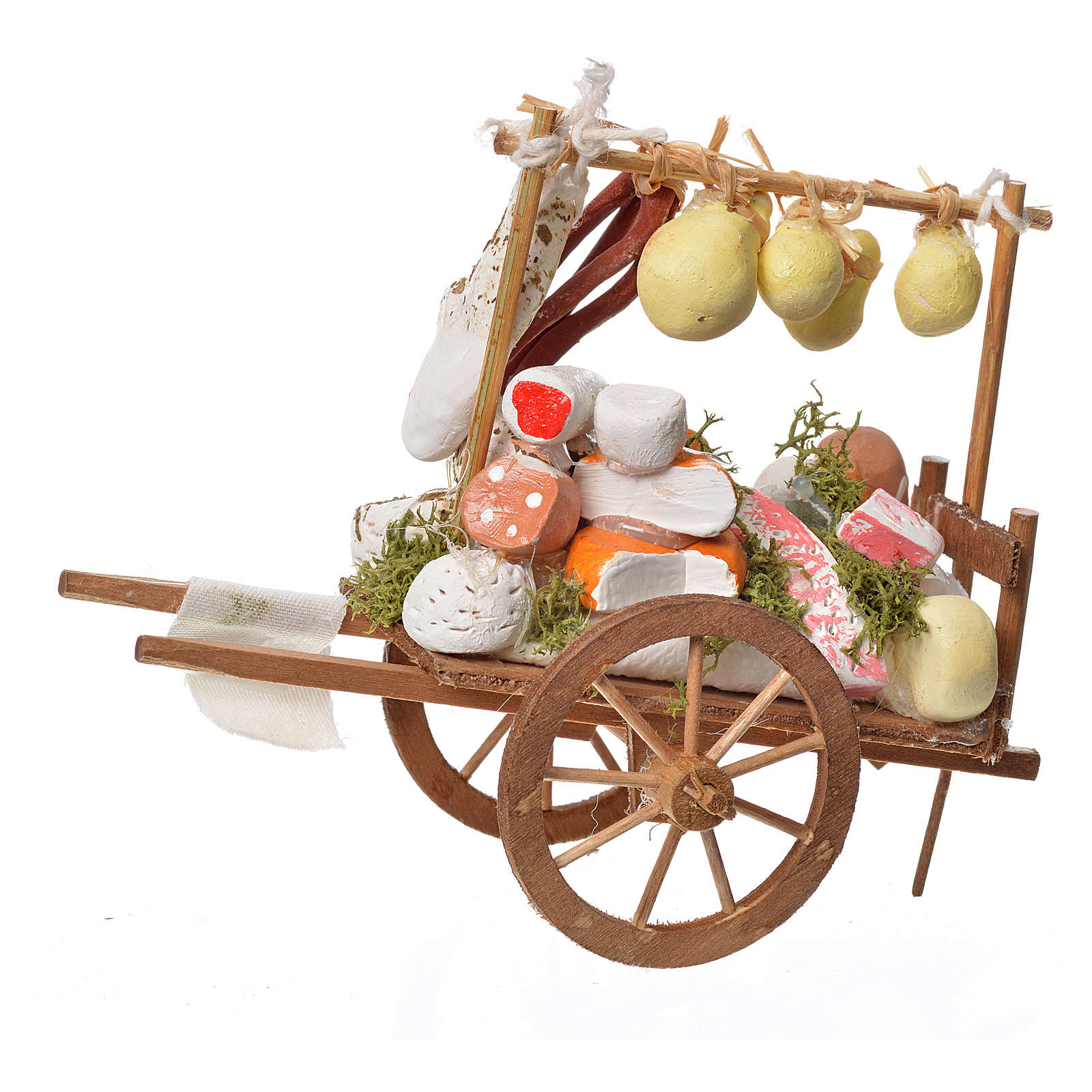 Neapolitan Nativity accessory, cheese cart in wood and terracott 4