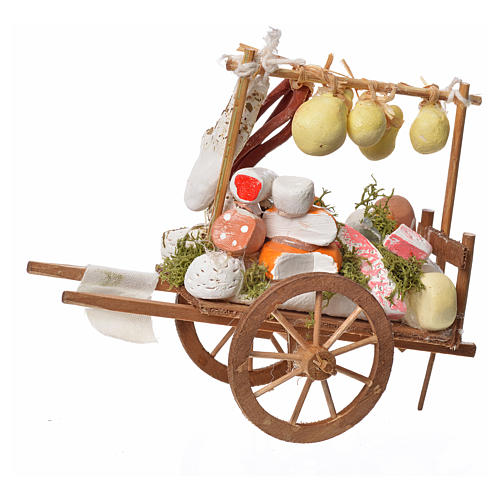 Neapolitan Nativity accessory, cheese cart in wood and terracott 2