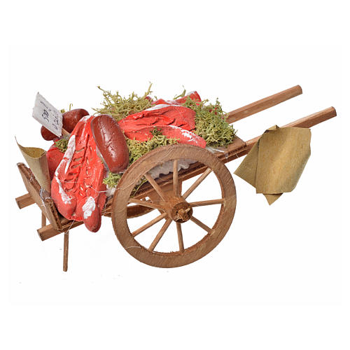 Neapolitan Nativity accessory, meat cart in wood and terracotta 1