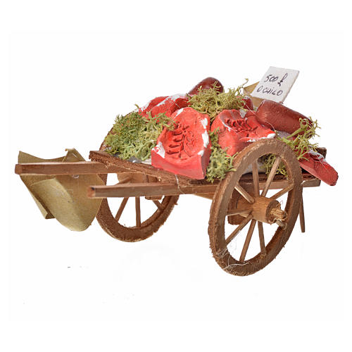 Neapolitan Nativity accessory, meat cart in wood and terracotta 2