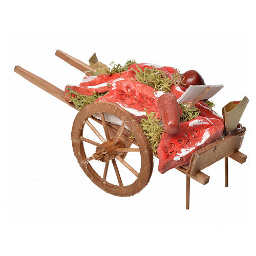 Neapolitan Nativity accessory, meat cart in wood and terracotta 3