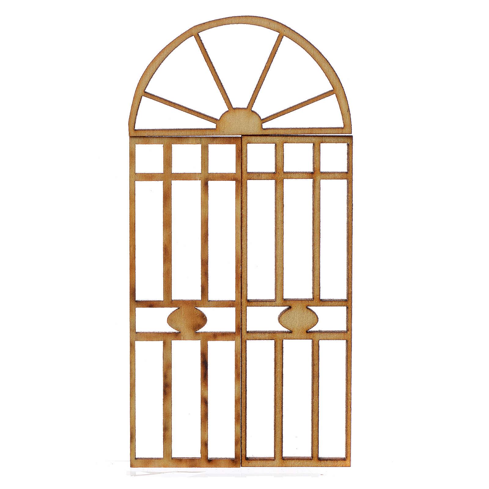 Portão presépio em madeira 3 peças 10,5x5 cm 4