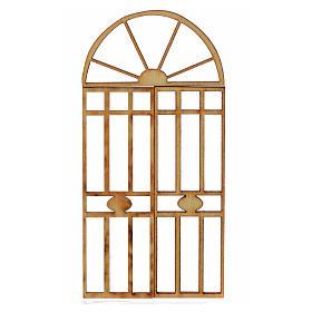 Portão presépio em madeira 3 peças 10,5x5 cm s1