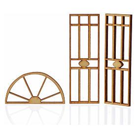 Portão presépio em madeira 3 peças 10,5x5 cm s2