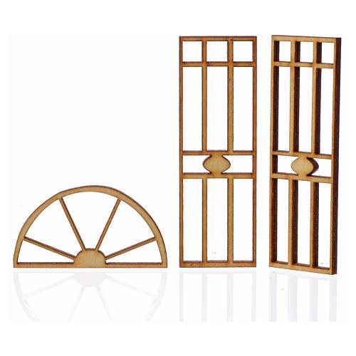 Portão presépio em madeira 3 peças 10,5x5 cm 2