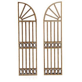 Nativity accessory, wooden gate, 2 pieces 15x7.5cm s2