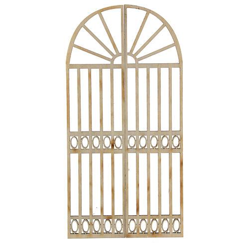 Nativity accessory, wooden gate, 2 pieces 15x7.5cm 1