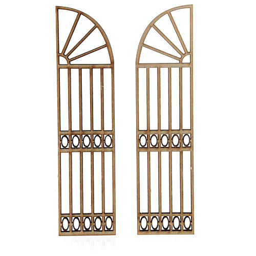 Nativity accessory, wooden gate, 2 pieces 15x7.5cm 2