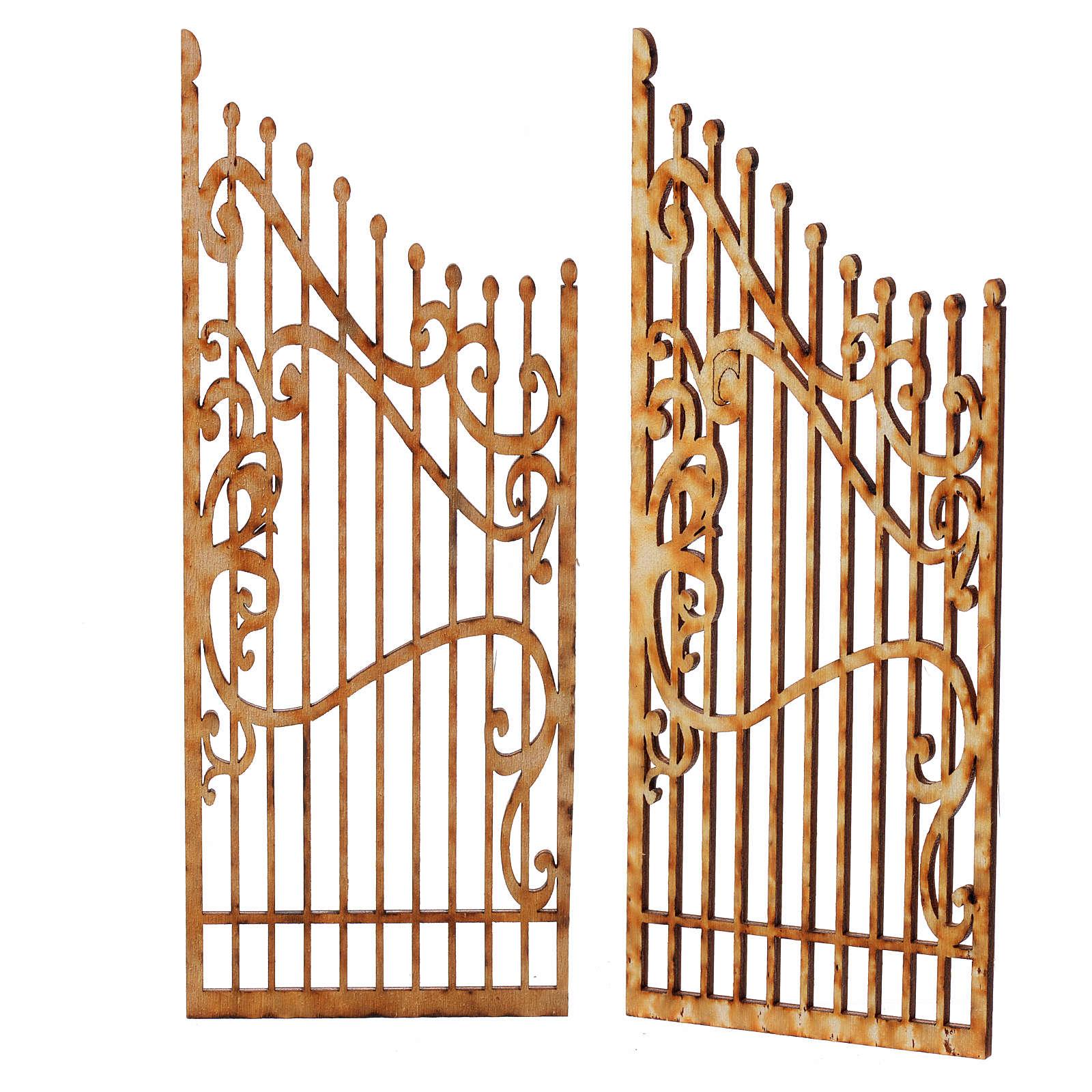 Cancello presepe legno 2 pz 15x7,5 4