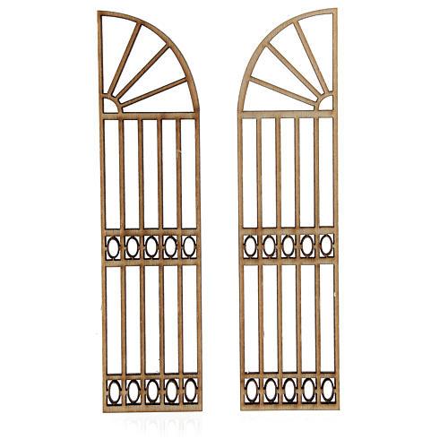 Cancello presepe legno 2 pz 15x7,5 2