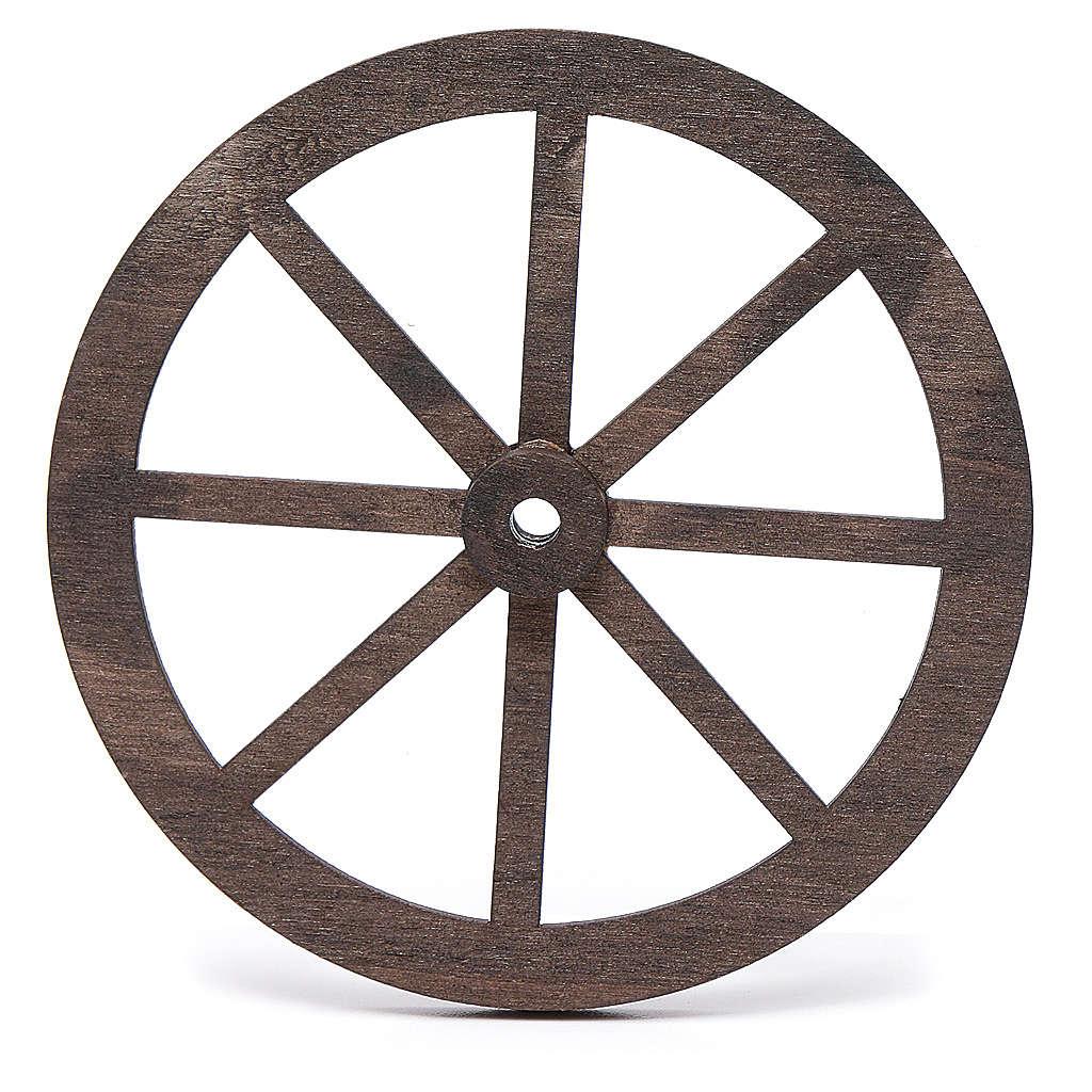 Mini roue bois pour crèche 10cm 4
