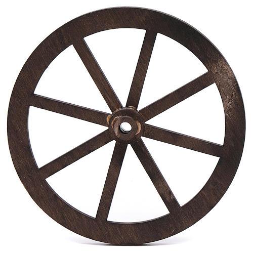 Mini roue bois pour crèche 10cm 1