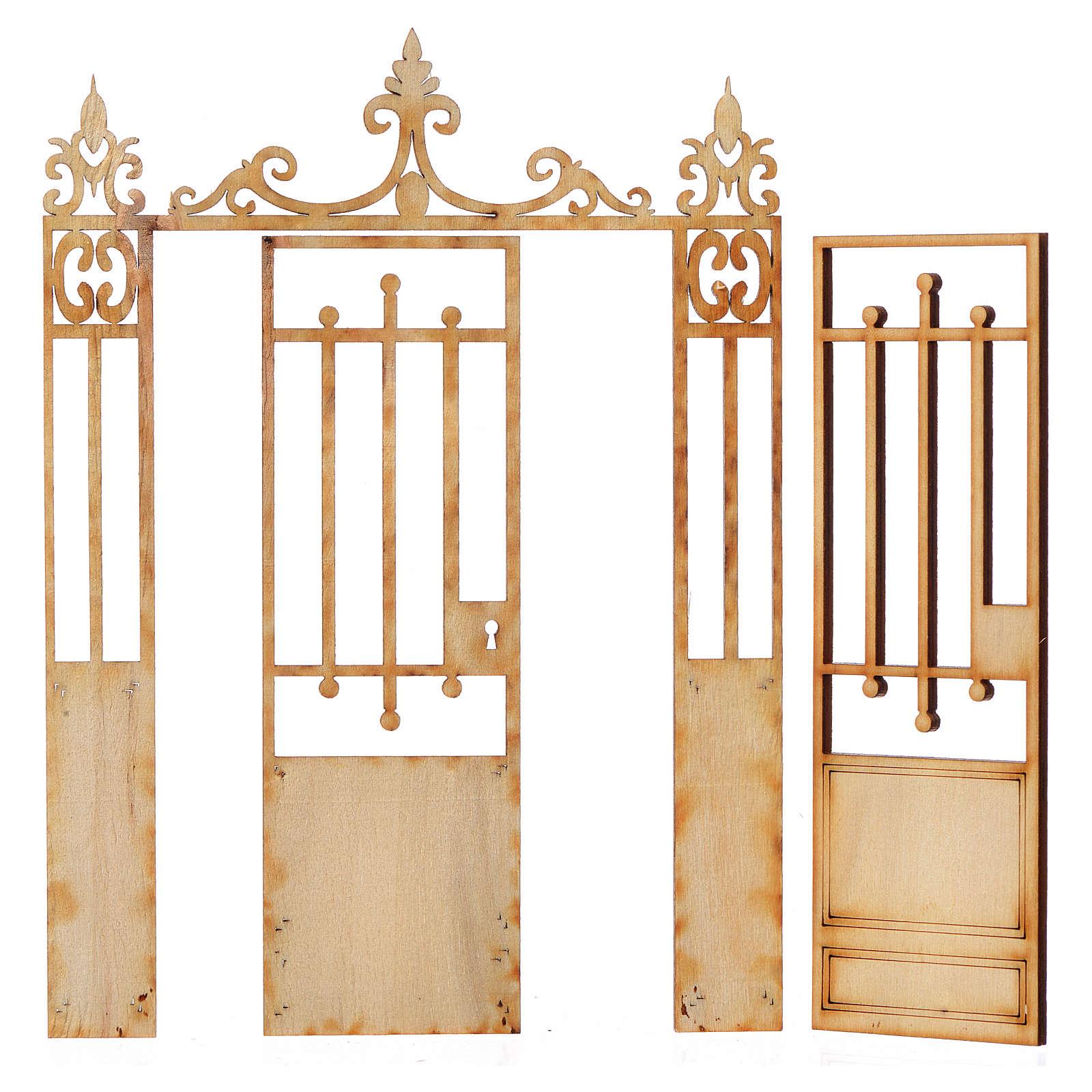 Nativity accessory, wooden gate, 2 doors 16.5x12cm 4