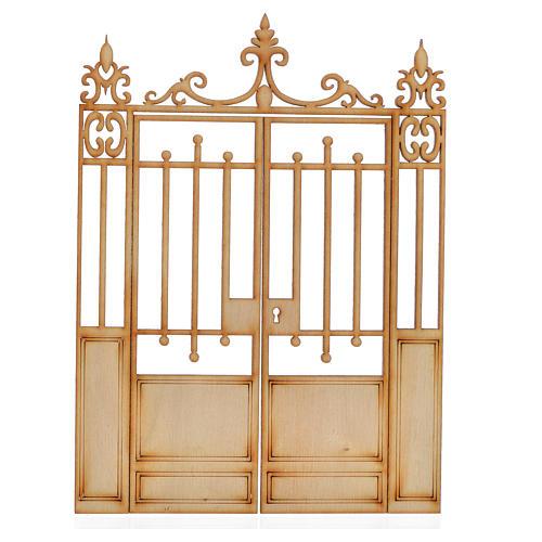 Nativity accessory, wooden gate, 2 doors 16.5x12cm 1