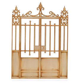 Nativity accessory, wooden gate, 2 doors 16.5x12cm s1