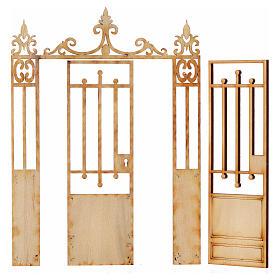 Nativity accessory, wooden gate, 2 doors 16.5x12cm s2