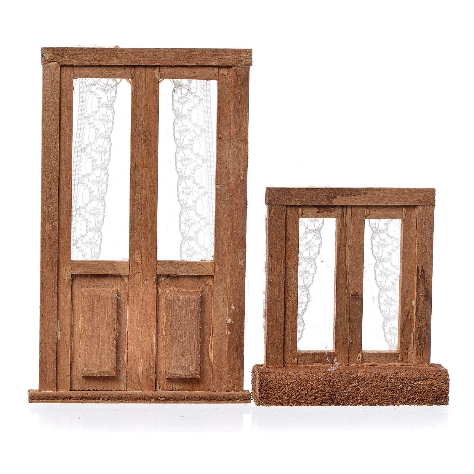 Infissi presepe legno 2 pz 11x7 e 7x6 4