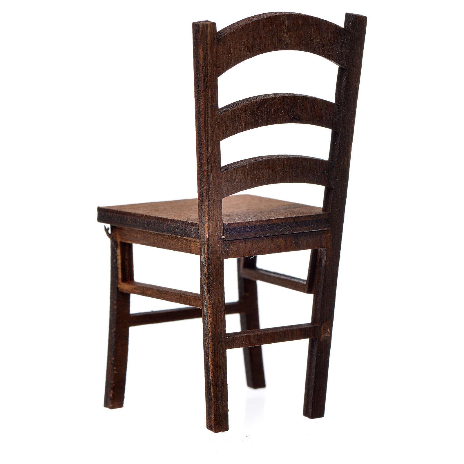 Chaise en bois en miniature 7,5x3,5x3,5 4