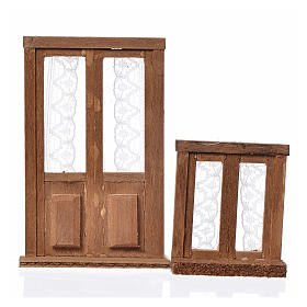 Balustrade, doors, railings: Nativity accessory, wooden frame, 2pcs, 9x6 and 5x4.5cm