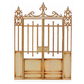 Balustrade, doors, railings: Nativity accessory, wooden gate with 2 doors, 10x7.5cm