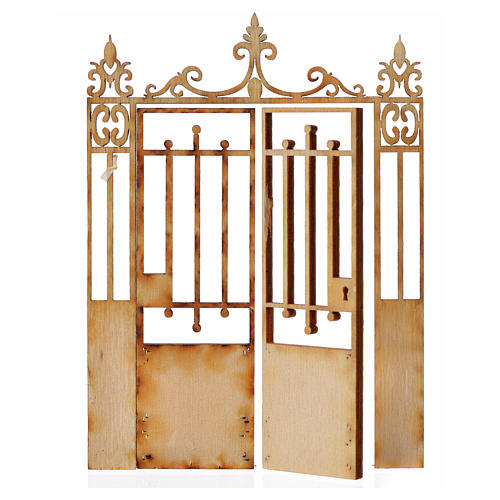 Nativity accessory, wooden gate with 2 doors, 10x7.5cm 2