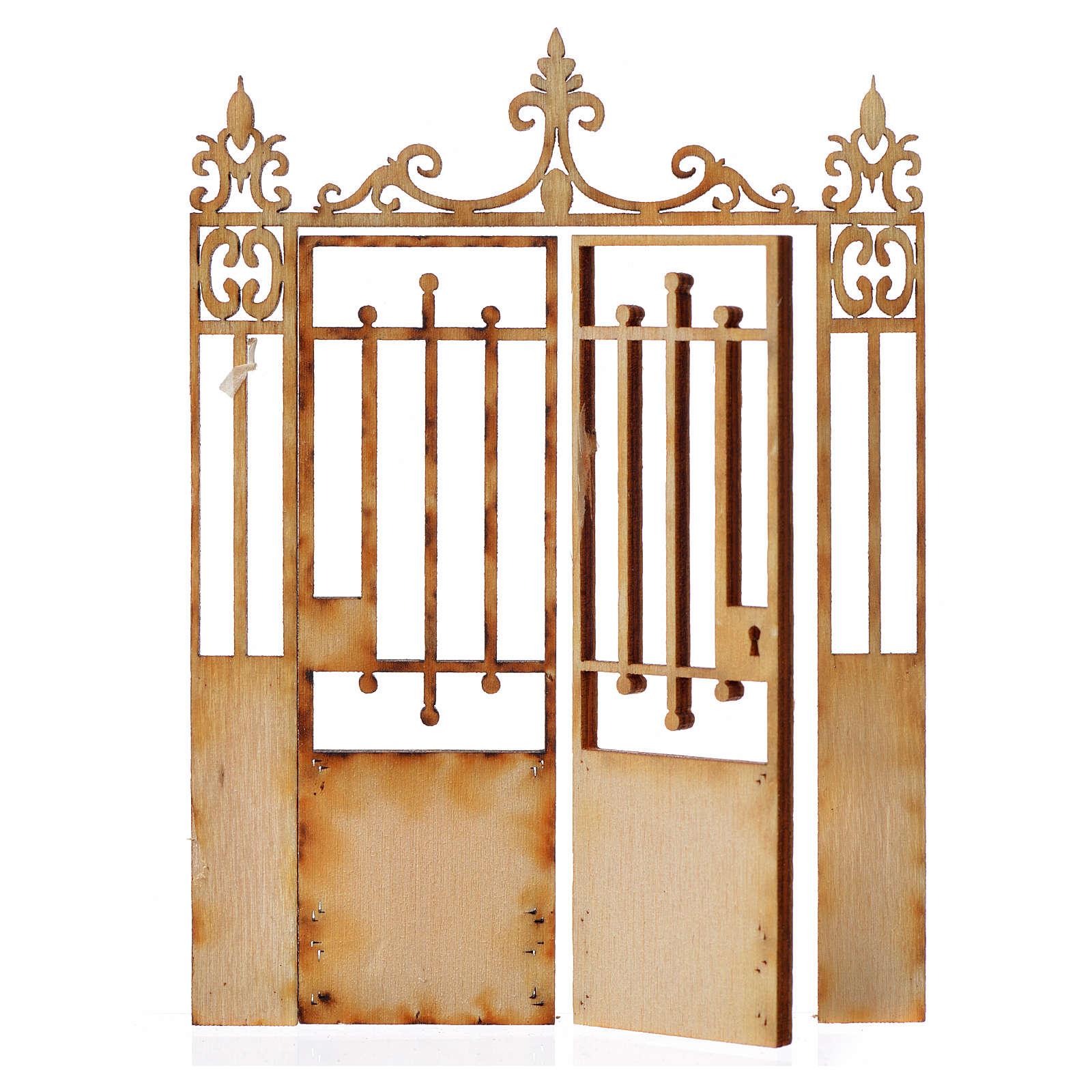 Cancello presepe 2 ante legno 10x7,5 4