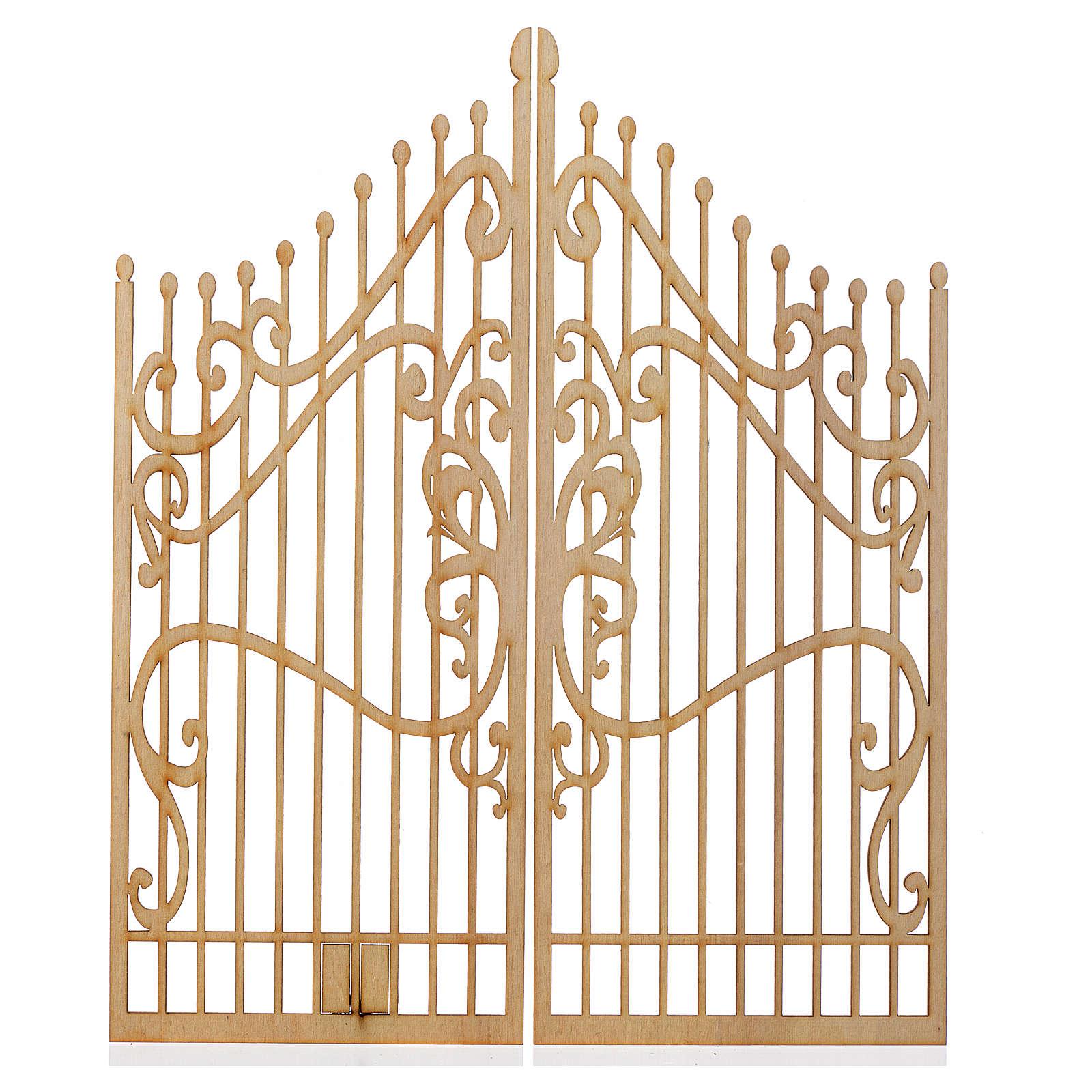 Portão decorado presépio madeira 2 portas 25x20 cm 4
