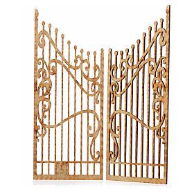 Portão decorado presépio madeira 2 portas 25x20 cm s2