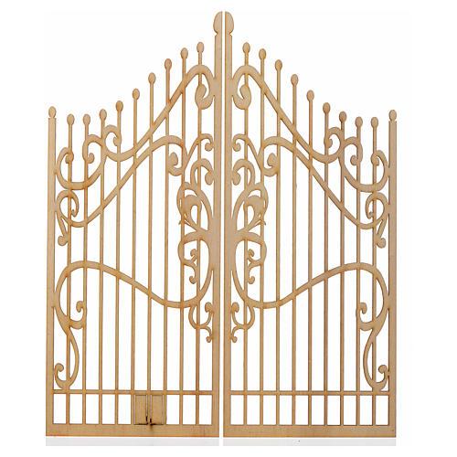 Portão decorado presépio madeira 2 portas 25x20 cm 1