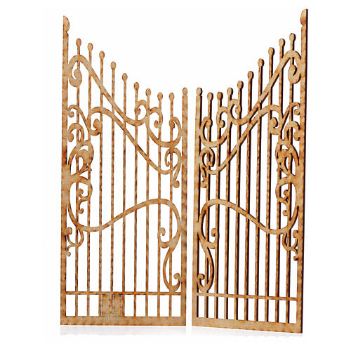 Portão decorado presépio madeira 2 portas 25x20 cm 2