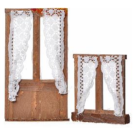 Châssis en miniature crèche 13x7,5 et 8x7cm rideaux s2