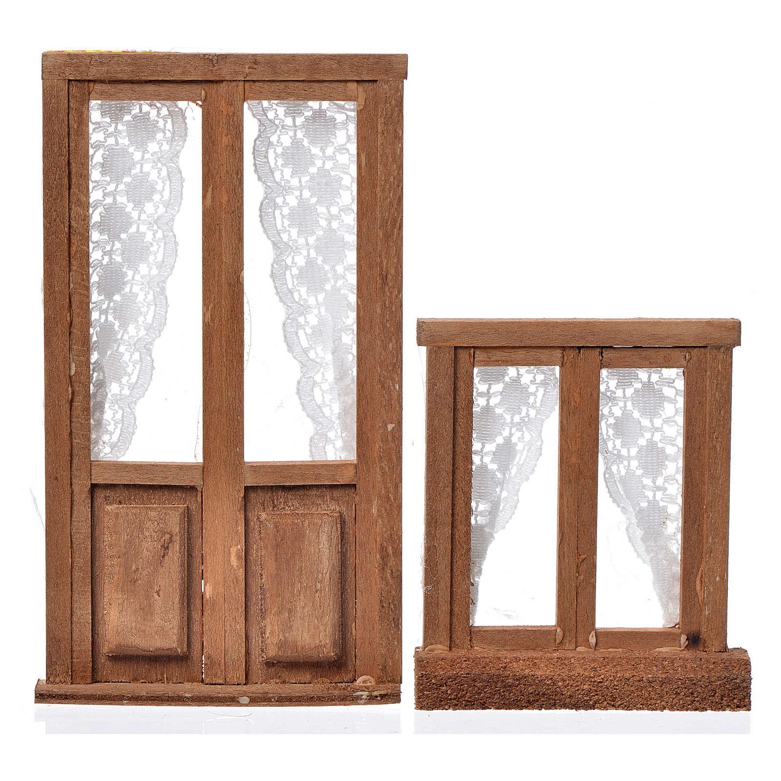 Infissi presepe 2 pz legno 13x7,5 e 8x7 cm 4