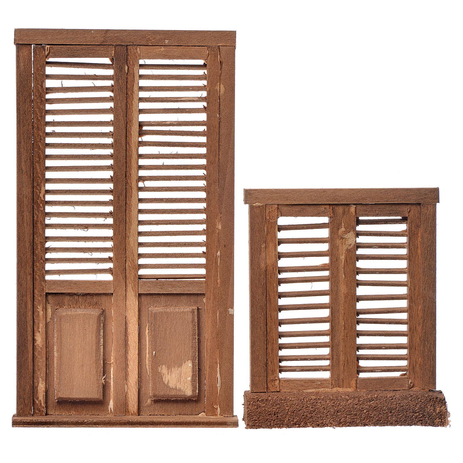 Infissi presepe 2 pz legno tipo veneziana 13,5x7,5 e 8x7 4