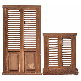 Infissi presepe 2 pz legno tipo veneziana 13,5x7,5 e 8x7 s1