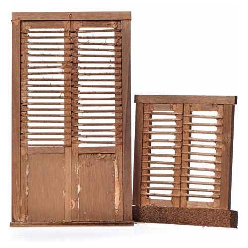 Infissi presepe 2 pz legno tipo veneziana 13,5x7,5 e 8x7 2