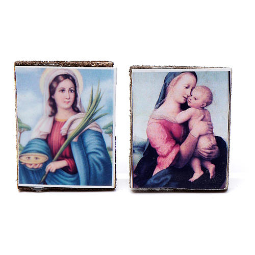 Nativity accessory, wooden picture, 2pcs, 4x3.5cm 1