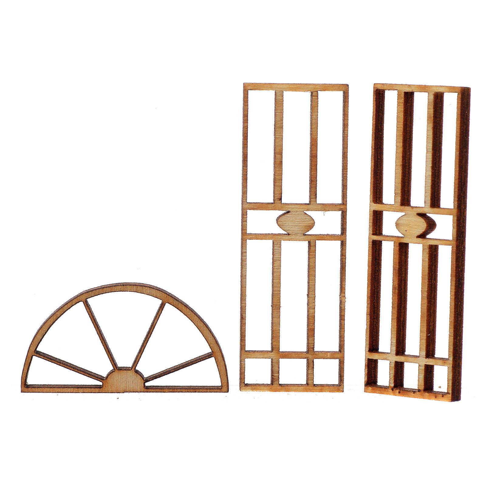 Nativity accessory, wooden gate, 3 pieces, 7x3.5cm 4