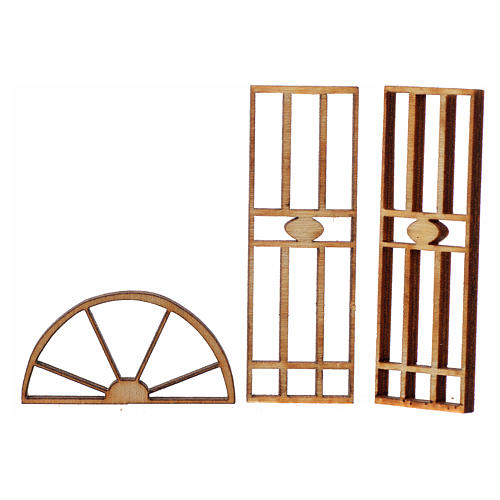 Nativity accessory, wooden gate, 3 pieces, 7x3.5cm 2