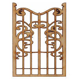 Balustrade, doors, railings: Nativity accessory, wooden gate 6.5x5cm