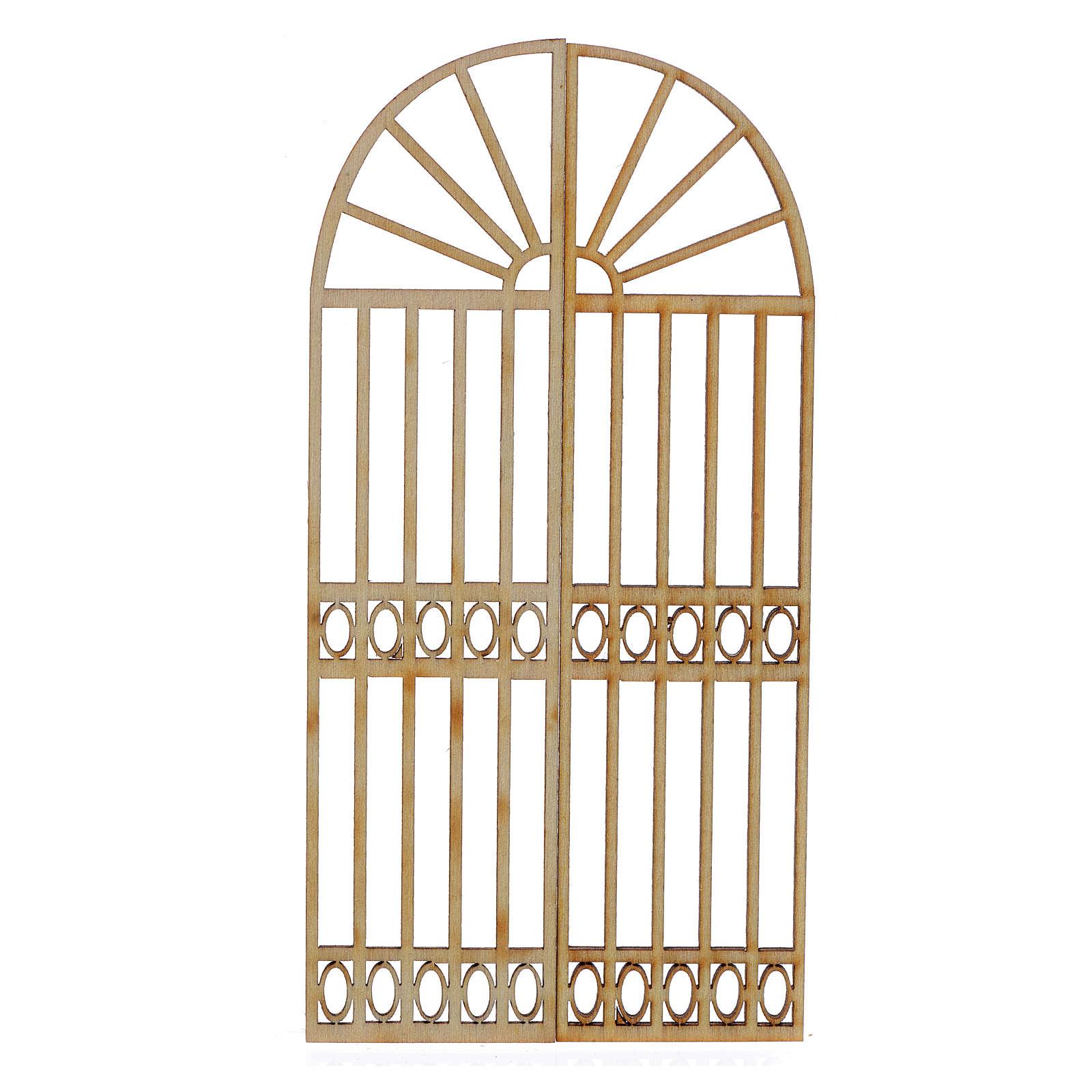 Portón de madera para belén 2 piezas 15x13 cm 4