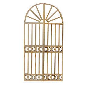 Portón de madera para belén 2 piezas 15x13 cm s1