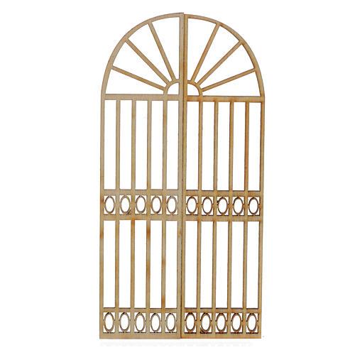 Portón de madera para belén 2 piezas 15x13 cm 1