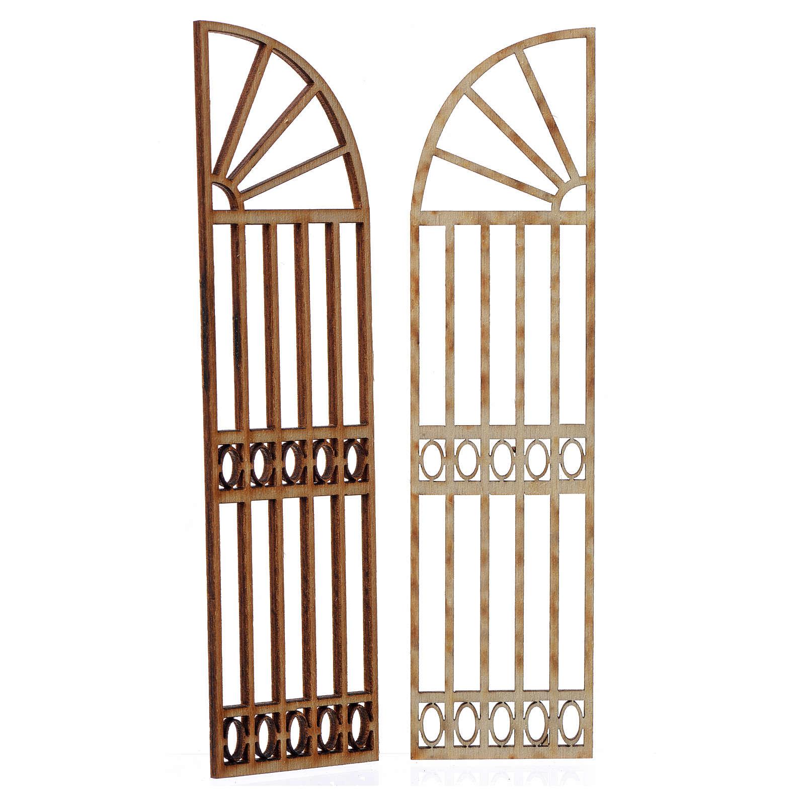 Cancello a scalare in legno per presepe 2 pz 15x13 cm 4